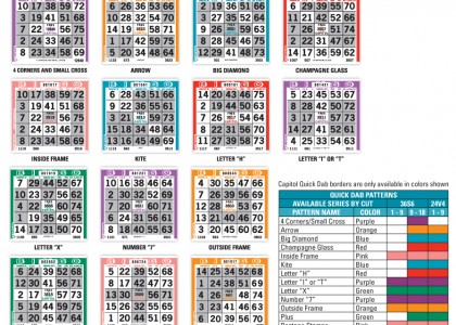 Quick Dab Pattern Bingo Paper