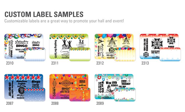 Custom Label Program - Bingo Ink Daubers - Custom Label Samples